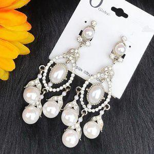 Boho Earrings Drop Pearls Bling Silvertone Clip-On